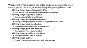 All living things have cells/contain DNA Ex