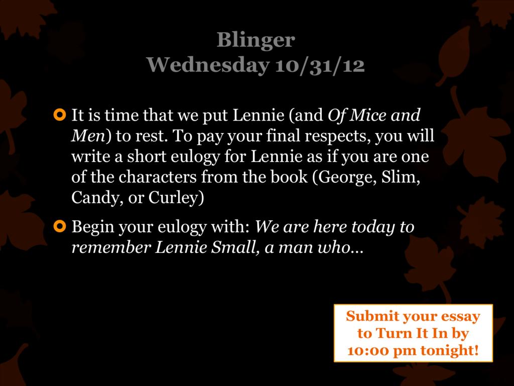 eulogy for lennie small