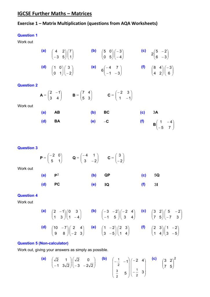 igcse further maths matrix transformations worksheet. Black Bedroom Furniture Sets. Home Design Ideas