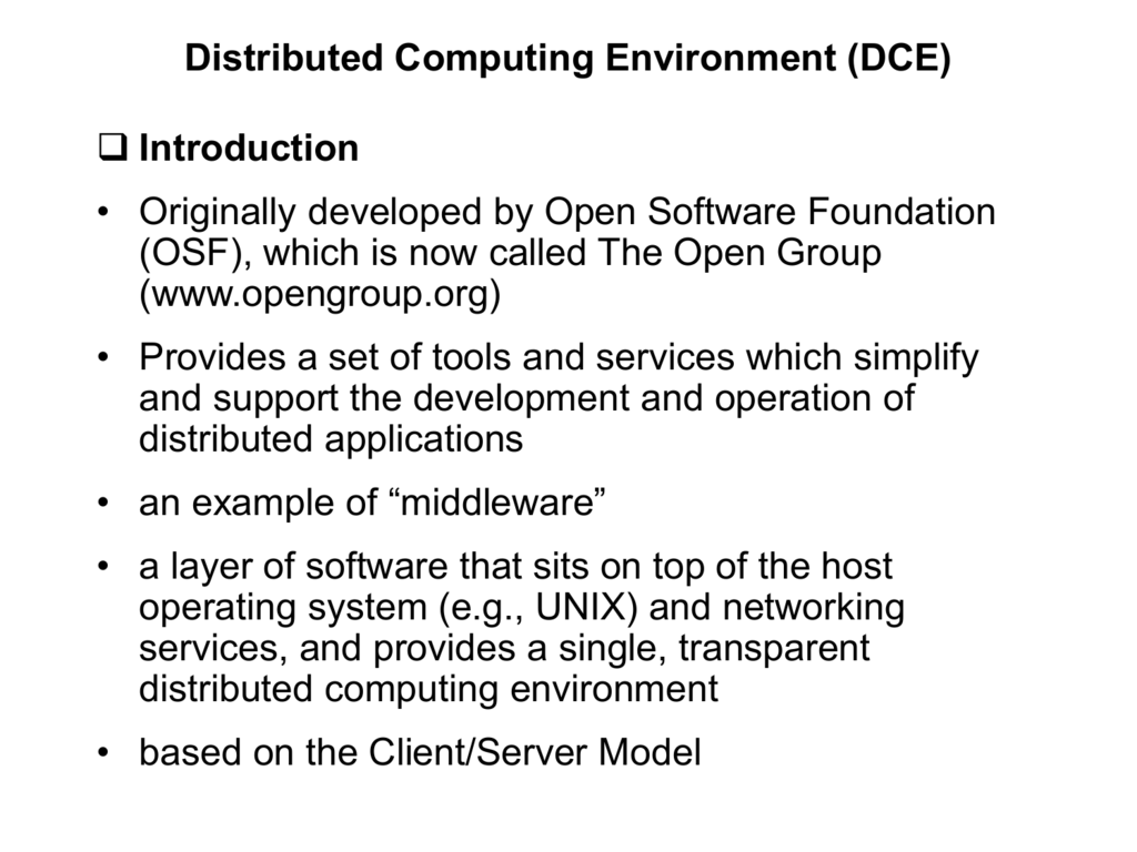 Distributed Computing Environm...
