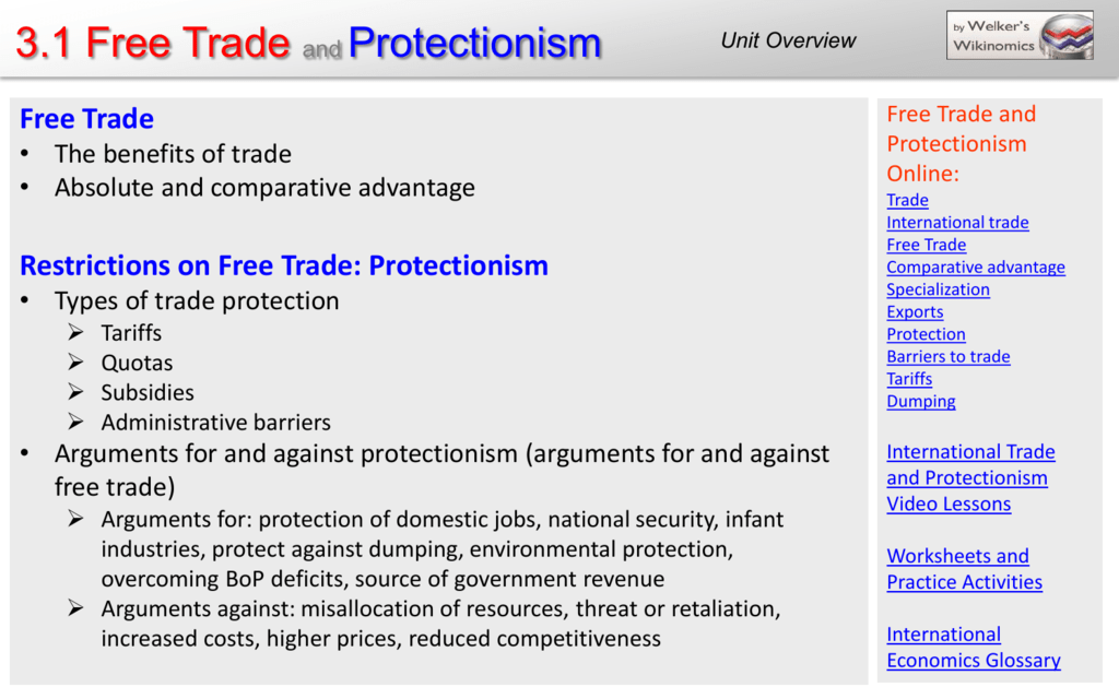 free trade vs protection trade differences
