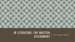 Ib Literature: The Written Assignment