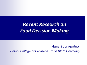 Food decision making - Personal.psu.edu