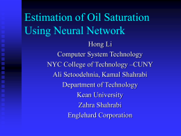 Estimation of Oil Saturation Using Neural Network