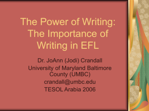 The Power of Writing: The Importance of Writing in EFL