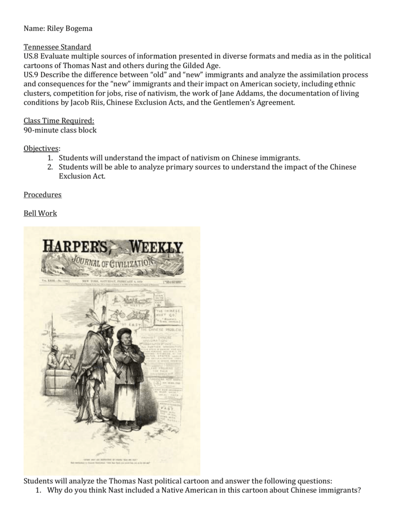 Lesson Plan On The Chinese Exclusion Act