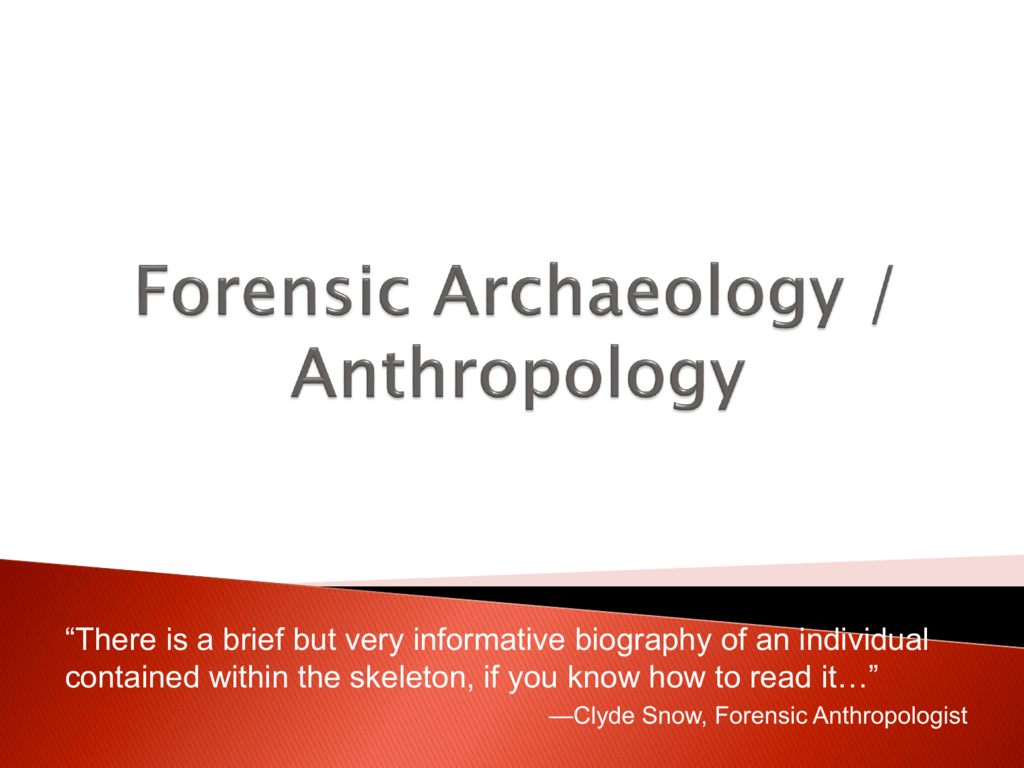 Forensic Archaeology Anthropology