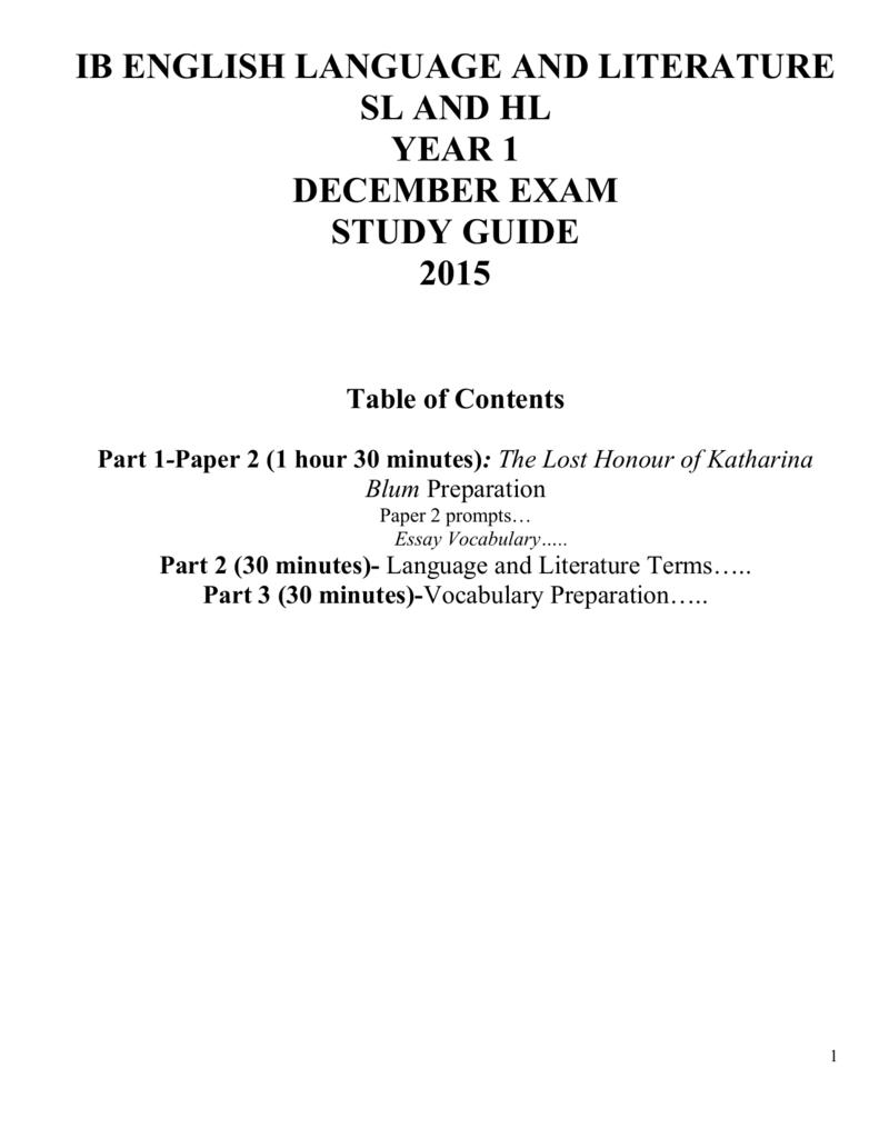 Study Guide- December Exam 2015-SL-HL