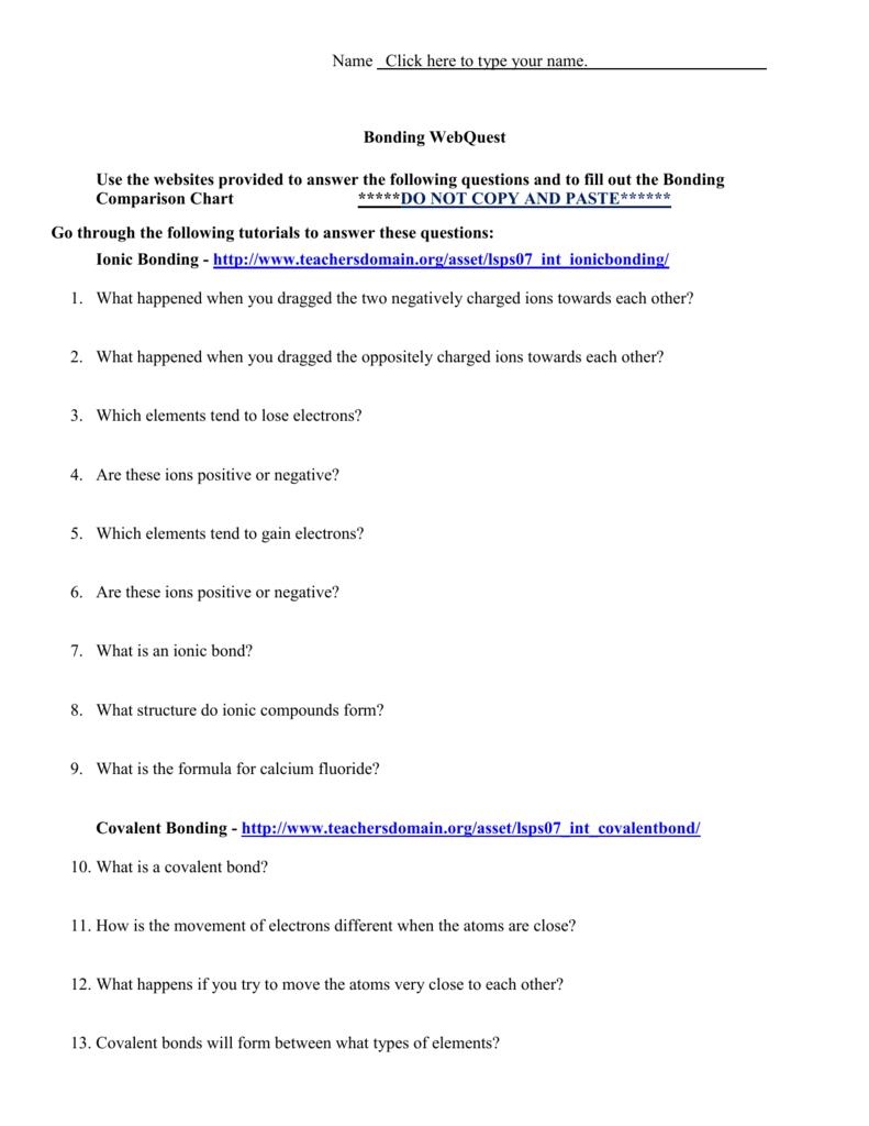Come Together Chemical Bonding Worksheet
