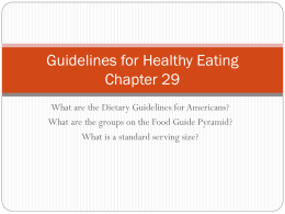 Guidelines for Healthy Eating Chapter 29