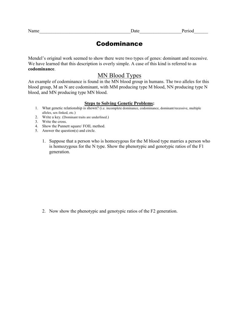 Ws Codominance Worksheet
