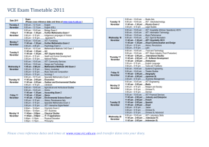 VCE Exam Timetable 2011 Date 2011 Exam (Please cross