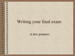 Writing your final exam