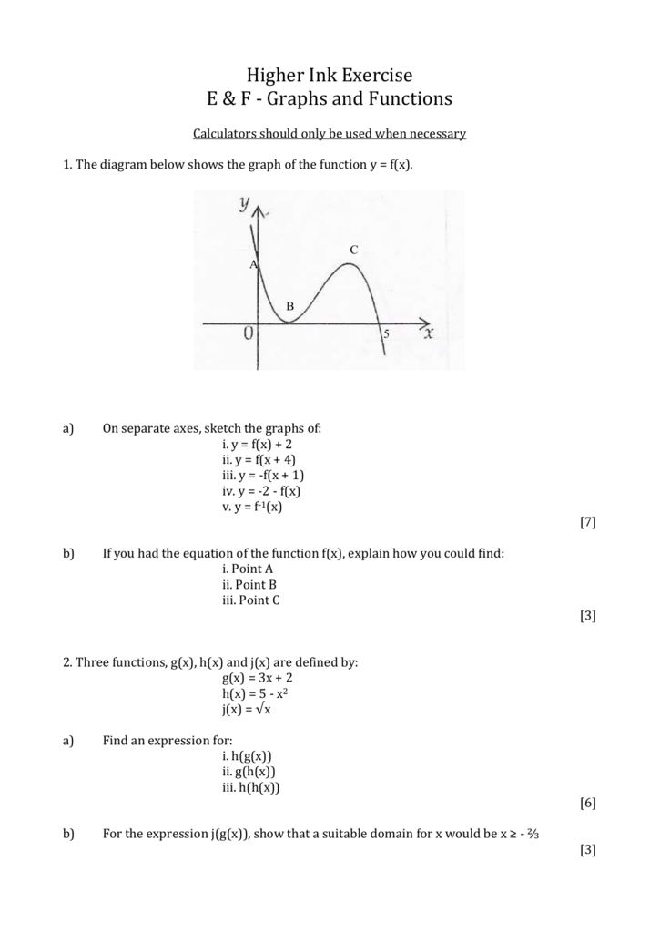 E&F Graphs & Functions