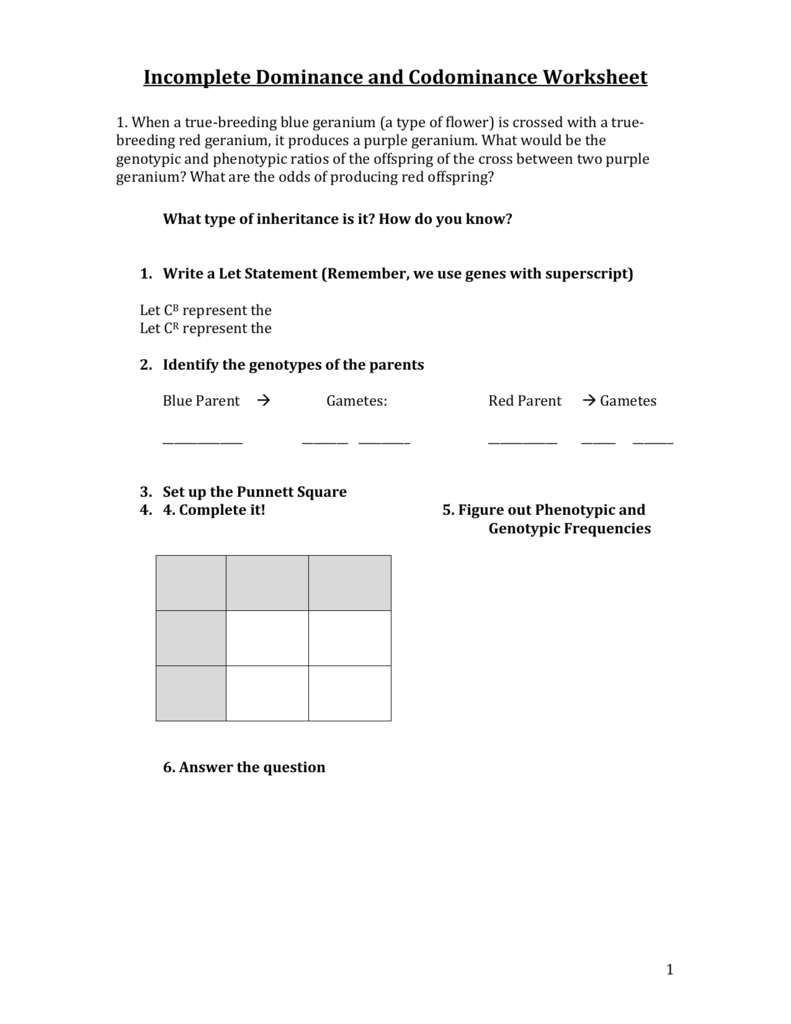 Worksheets Incomplete Dominance And Codominance Worksheet sbi3u 8 incomplete dominance worksheet oise