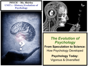 PSYCH - Mr. Duez UNIT 1 - History/Evolution of Psychology