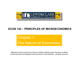 ECON 152 – PRINCIPLES OF MICROECONOMICS Materials