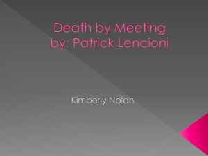 Death by Meeting by: Patrick Lencioni