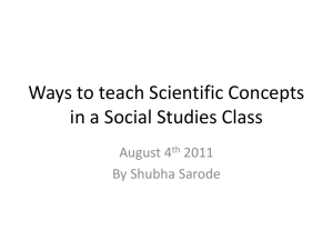 Ways to teach Scientific Concepts in a Social Studies Class