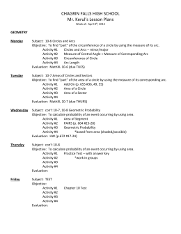 CHAGRIN FALLS HIGH SCHOOL Mr. Kerul's Lesson Plans Week of