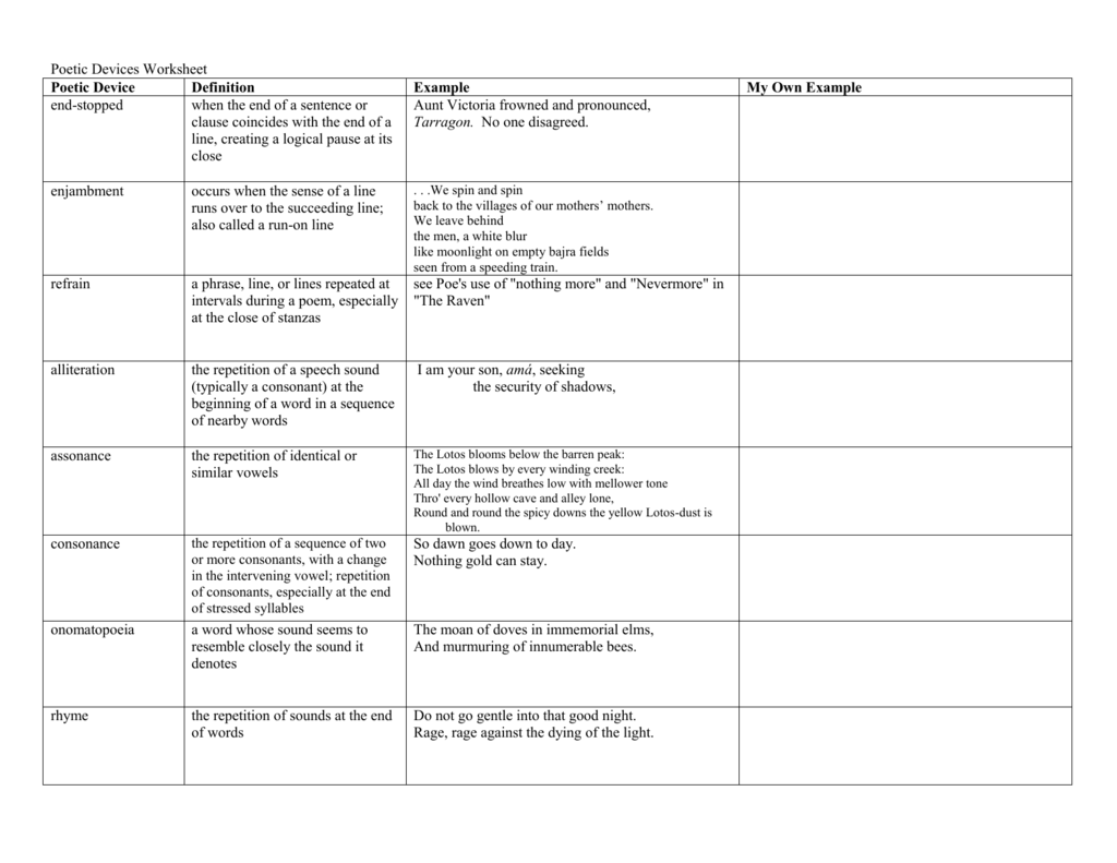 Poetic Devices Worksheet (with examples) Within Sound Devices In Poetry Worksheet