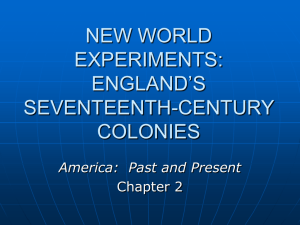 COMPETING VISIONS: ENGLISH COLONIZATION IN THE