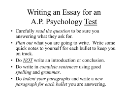 Writing an Essay for an A.P. Psychology Test