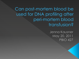 Can post-mortem blood be used for DNA profiling after peri