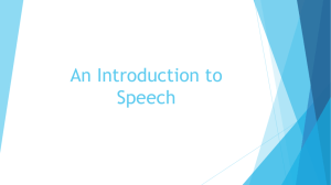 An Introduction to Speech