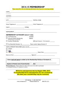 Orchestra X Membership Form 2014-2015