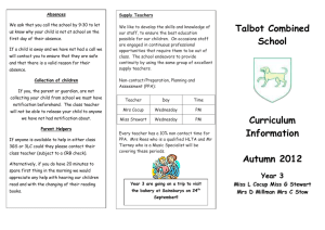 Talbot Combined School Curriculum Information Autumn 2012 Year