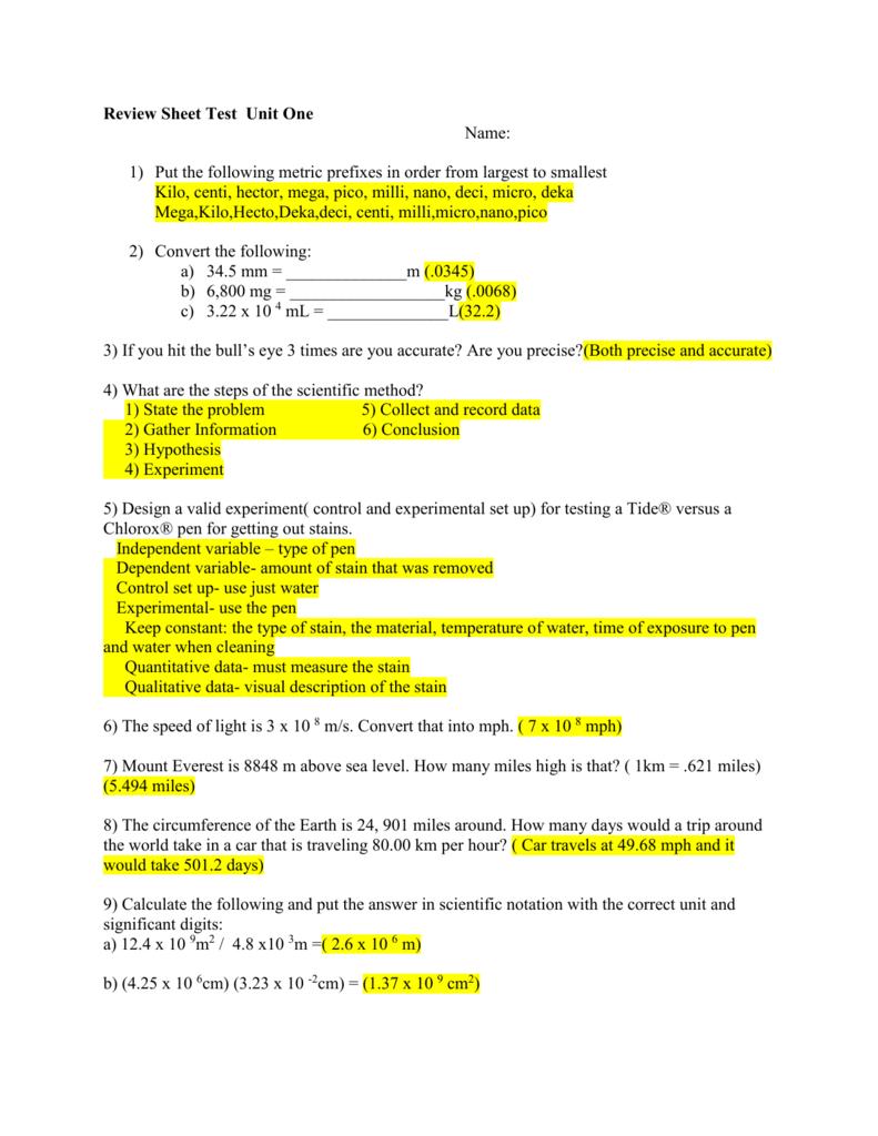 Metric Worksheet I