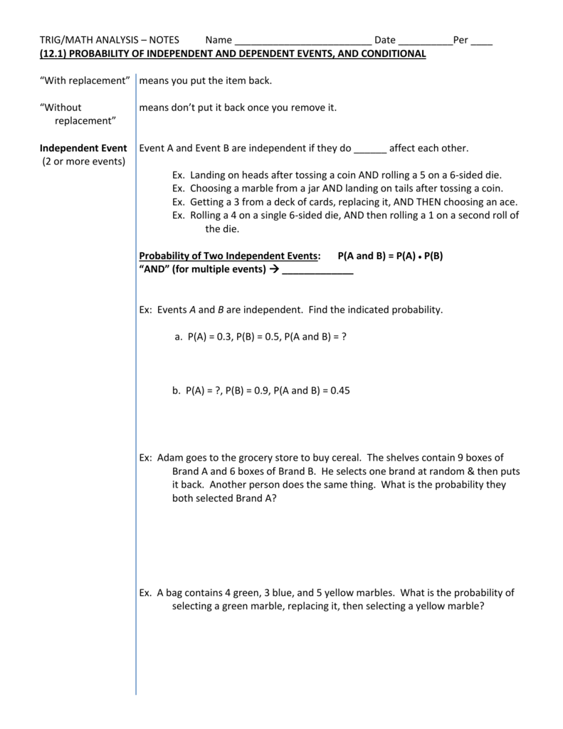 Trig121 NotesHW Independent Dependent Events – Probability of Independent Events Worksheet