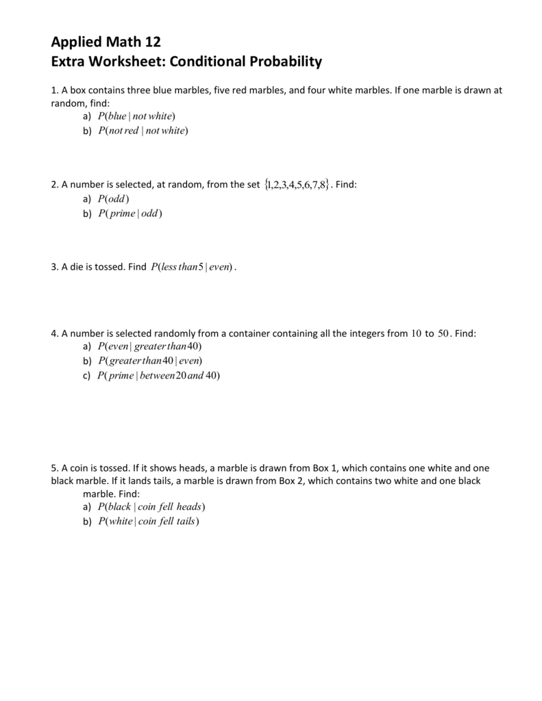 Worksheets Conditional Probability Worksheets applied math 12 extra worksheet conditional probability