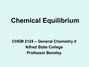 Chemical Equilibrium - Alfred State College intranet site