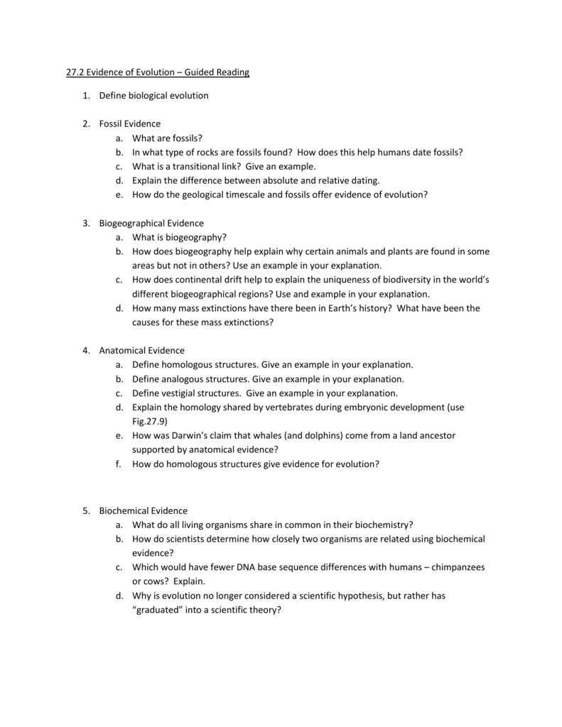 Worksheets Evidence For Evolution Worksheet 27 2 evidence of evolution guided reading define biological