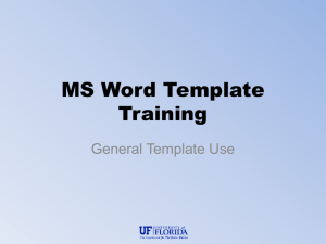 MS Word Template Training