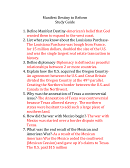 Manifest Destiny to Reform Study Guide answers