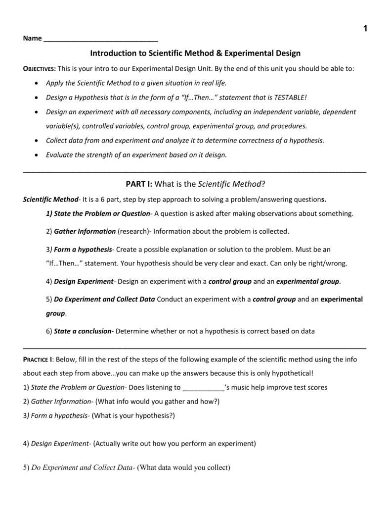 Experimental Design Worksheet – Writing a Hypothesis Worksheet