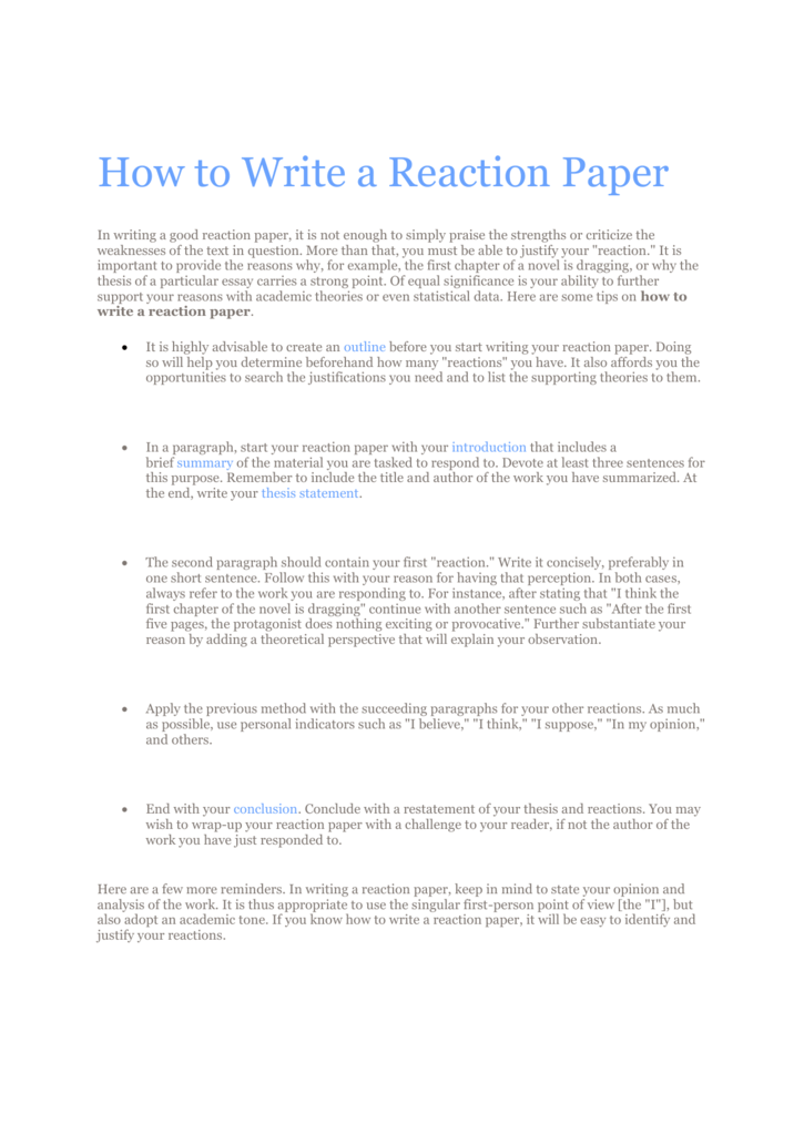 How to Write a Reaction Paper – What is a reaction paper | Paperstime