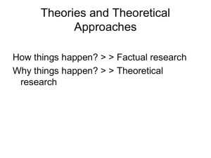 Theories and Theoretical Approaches
