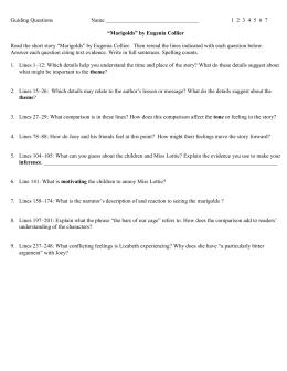 "four paragraph irony essay guiding questions 1 2 3 4 5 6 7 ""marigolds"" by eugenia"