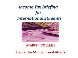 Income Tax Briefing for International Students