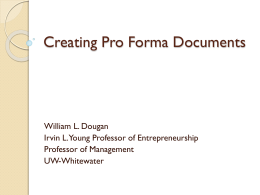 Creating Pro Forma Statements