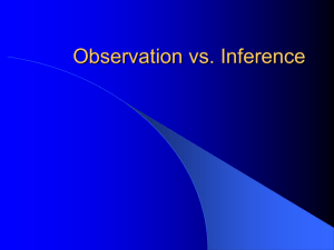 Observation, Inference, Hypothesis, Variables, Constants and
