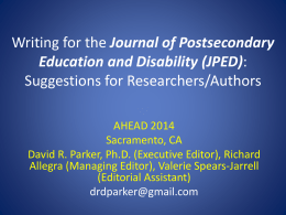 Writing for JPED: Suggestions for Researchers/Authors