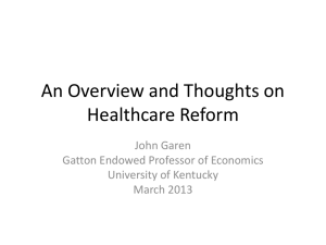 An Overview and Thoughts on Healthcare