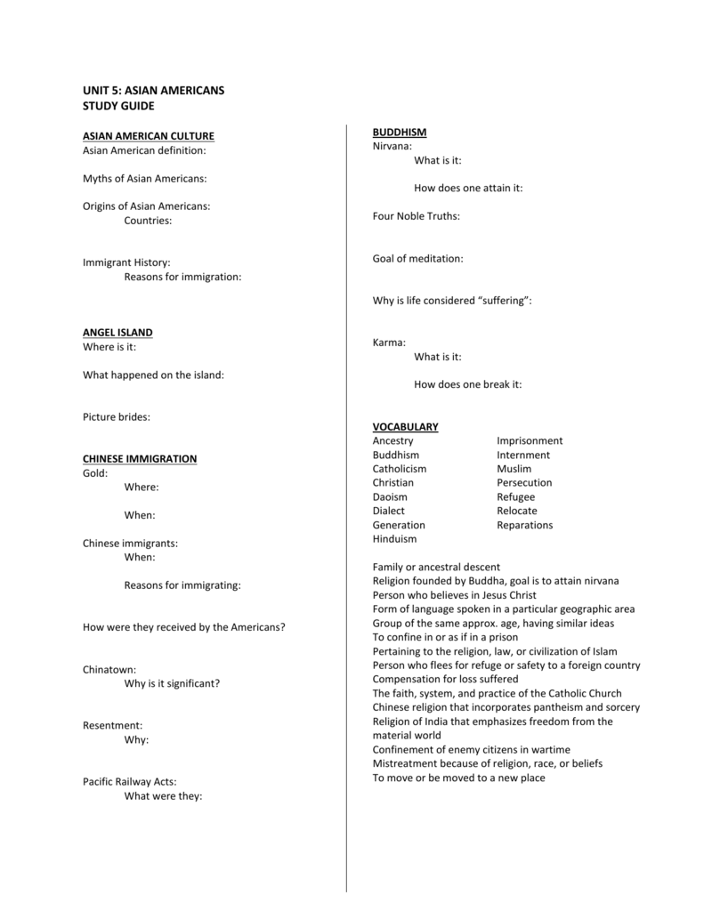 Asian american study guide