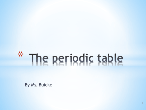 The periodic table - Ms. Buicke maths and science