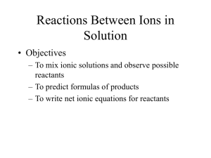 Reactions Between Ions in Solution lab